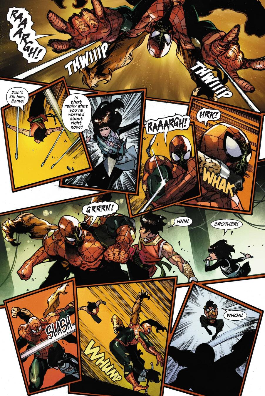 Spider-Monster flies into attack mode against Shang-Chi and Deadly Dagger.