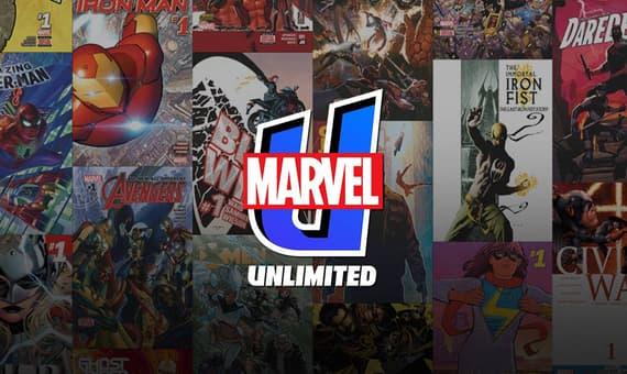 Marvel Unlimited Logo on Comics Background