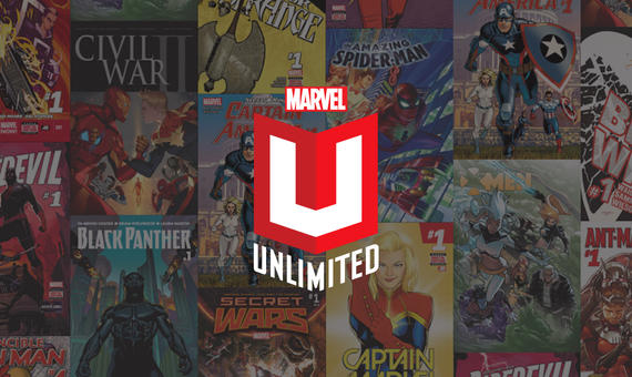 Marvel Unlimited Logo on Comics Background