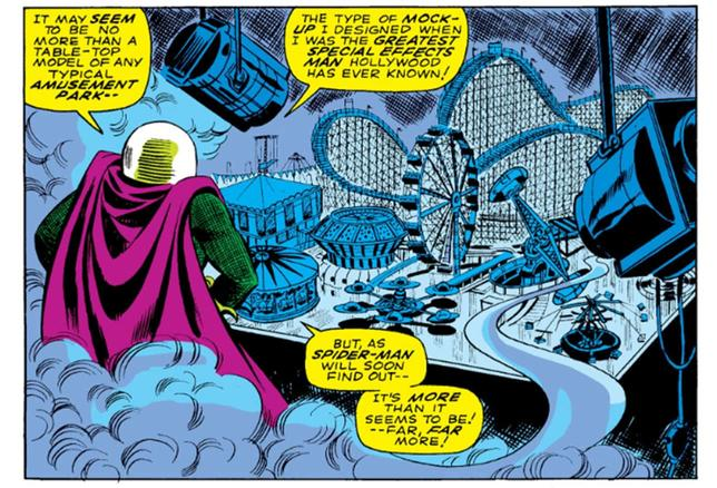 Mysterio is later seen standing over a table-top model of an amusement park