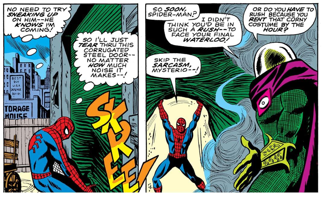 Mysterio mocks the socks off Spider-Man
