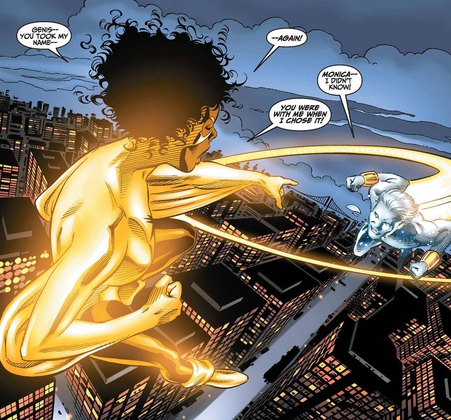 Monica confronts Genis-Vell about his recent name change.