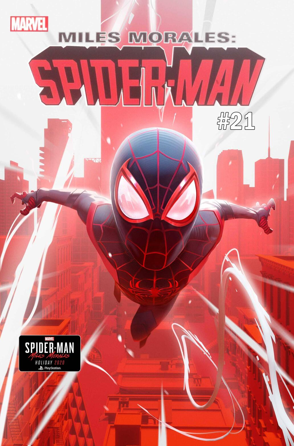 MILES MORALES: SPIDER-MAN #21 cover by Insomniac Games senior concept artist Nicholas Schumaker