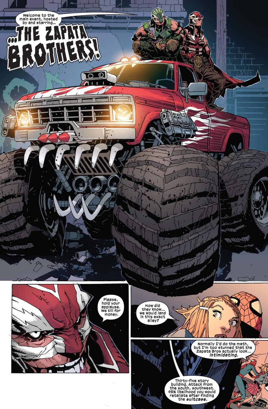 Spider-Man encounters two monster-truck driving foes!