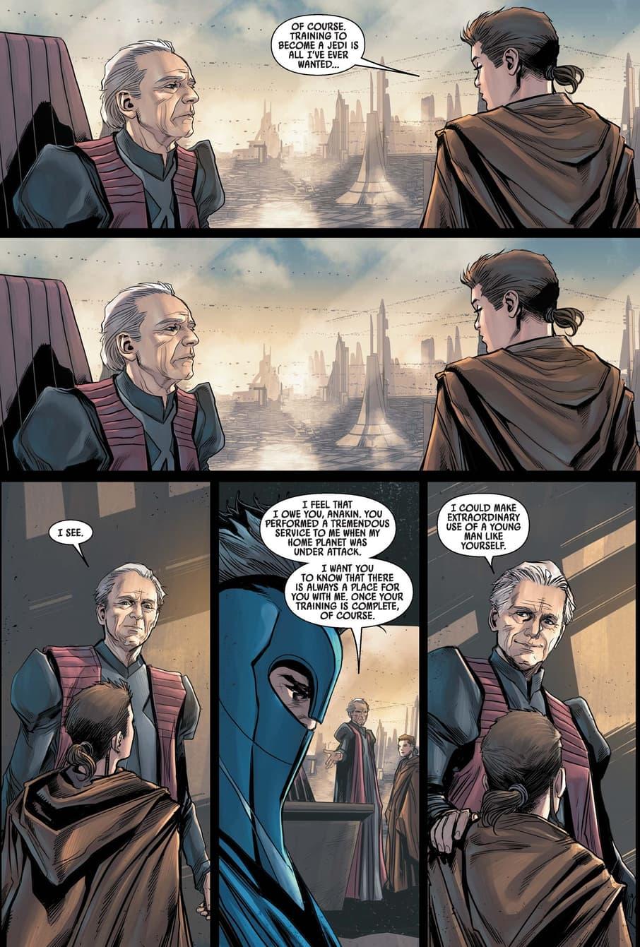 Palpatine gains influence over Anakin Skywalker.