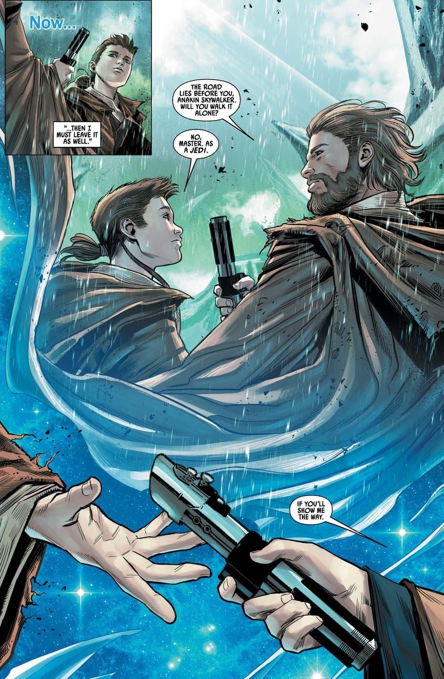 Obi-Wan entrusts Anakin with his teachings.