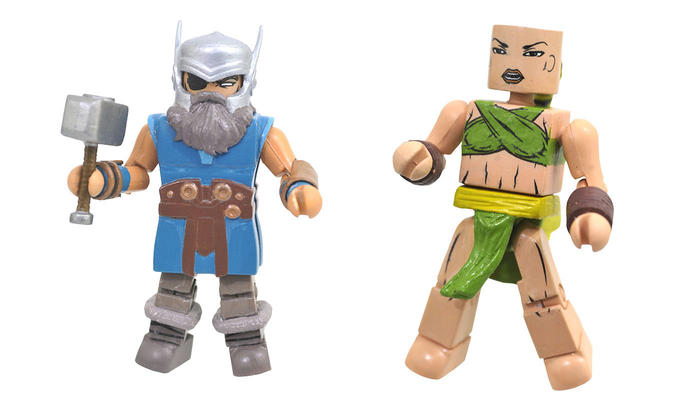Marvel Minimates Odin with Iron Fist, with the hammer Mjolnir for Odin and flame-hand accessories for Iron Fist