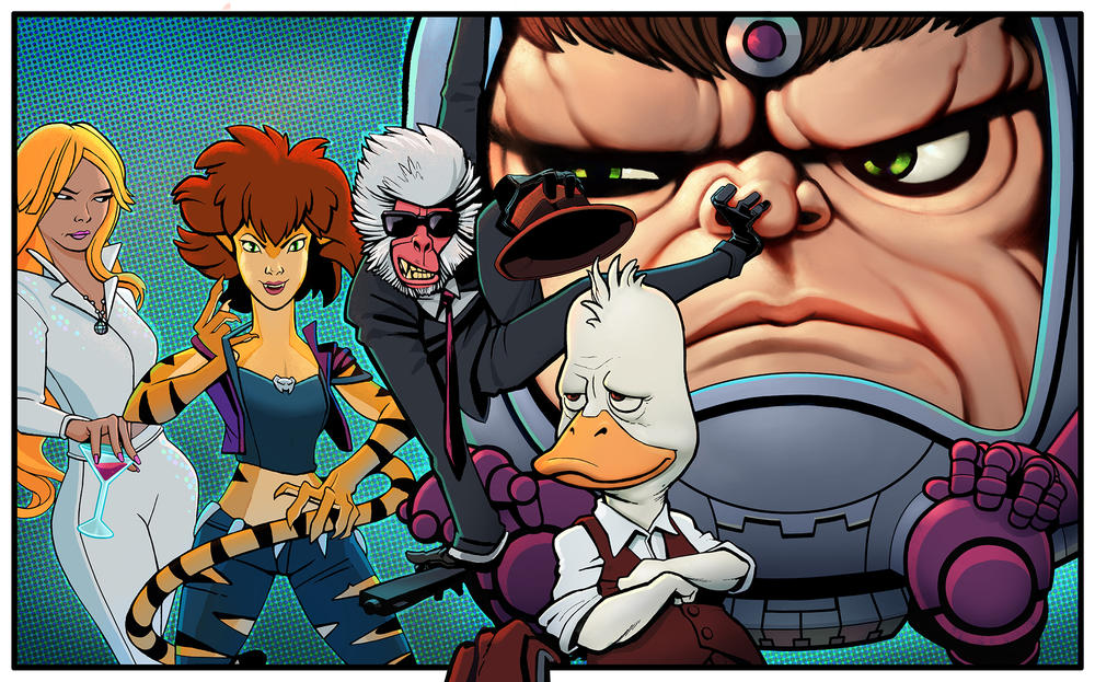 "Imagery for ""Marvel's M.O.D.O.K.,"" ""Marvel's Hit Monkey,"" ""Marvel's Tigra & Dazzler Show,"" and ""Marvel's Howard the Duck,"" who will all team up in ""Marvel's The Offenders"""
