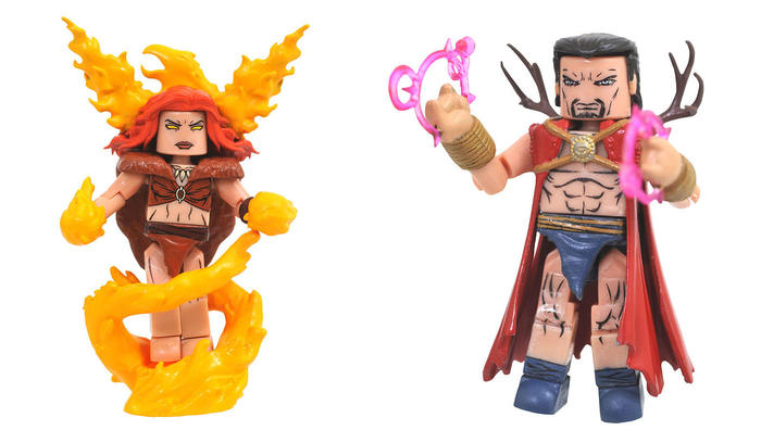 Marvel Minimates Phoenix with Agamotto, with alternate flame hair, flame-hands and fiery base for Phoenix and spell-casting hands for Agamotto
