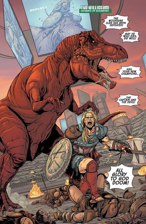 Gladiator Steve Rogers, AKA The Captain, in PLANET HULK (2015) #1.