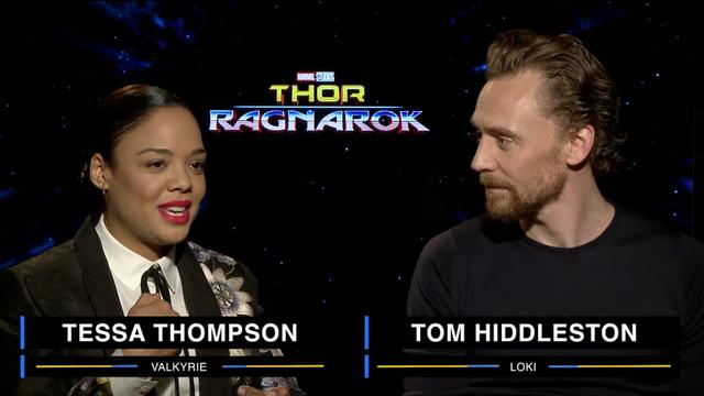Tessa Thompson and Tom Hiddleston on Marvel Studios' Thor: Ragnarok