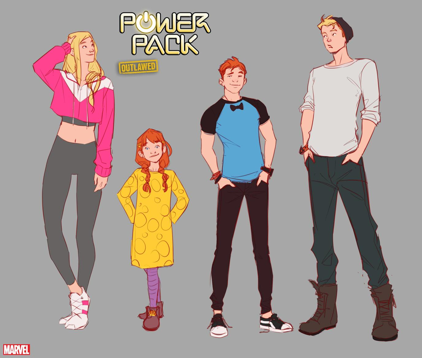 Power Pack character designs