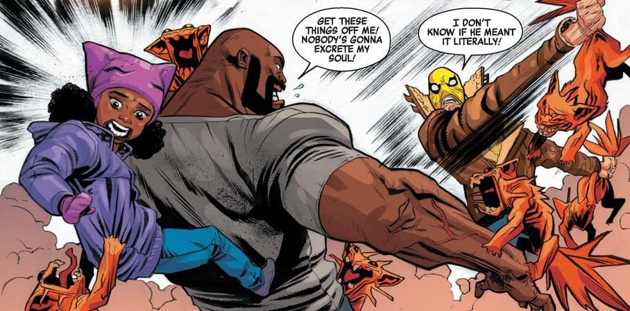 Luke Cage and Iron Fist versus Krampus' demons.