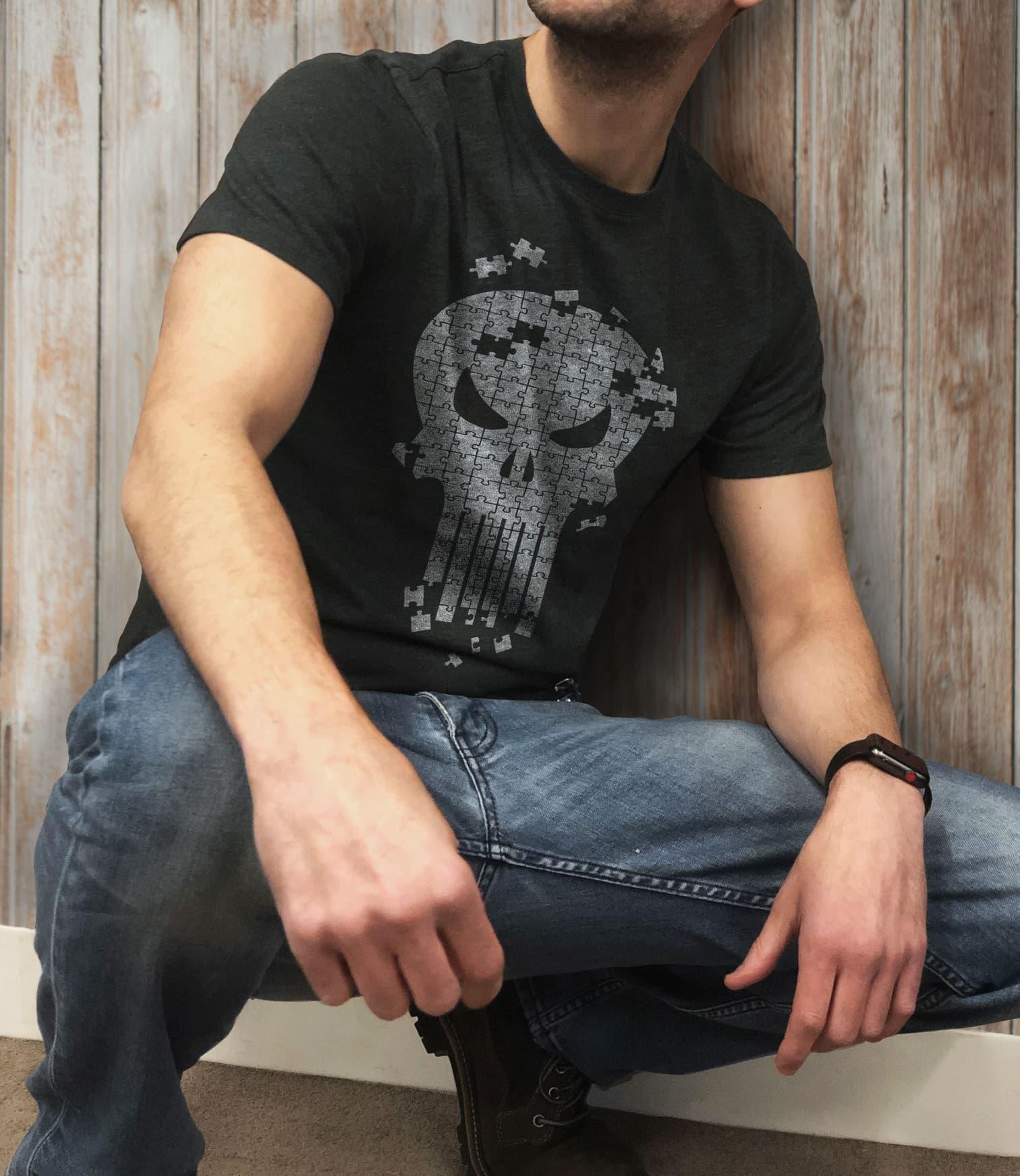 Marvel The Punisher Skull Icon Jigsaw Puzzle T-Shirt