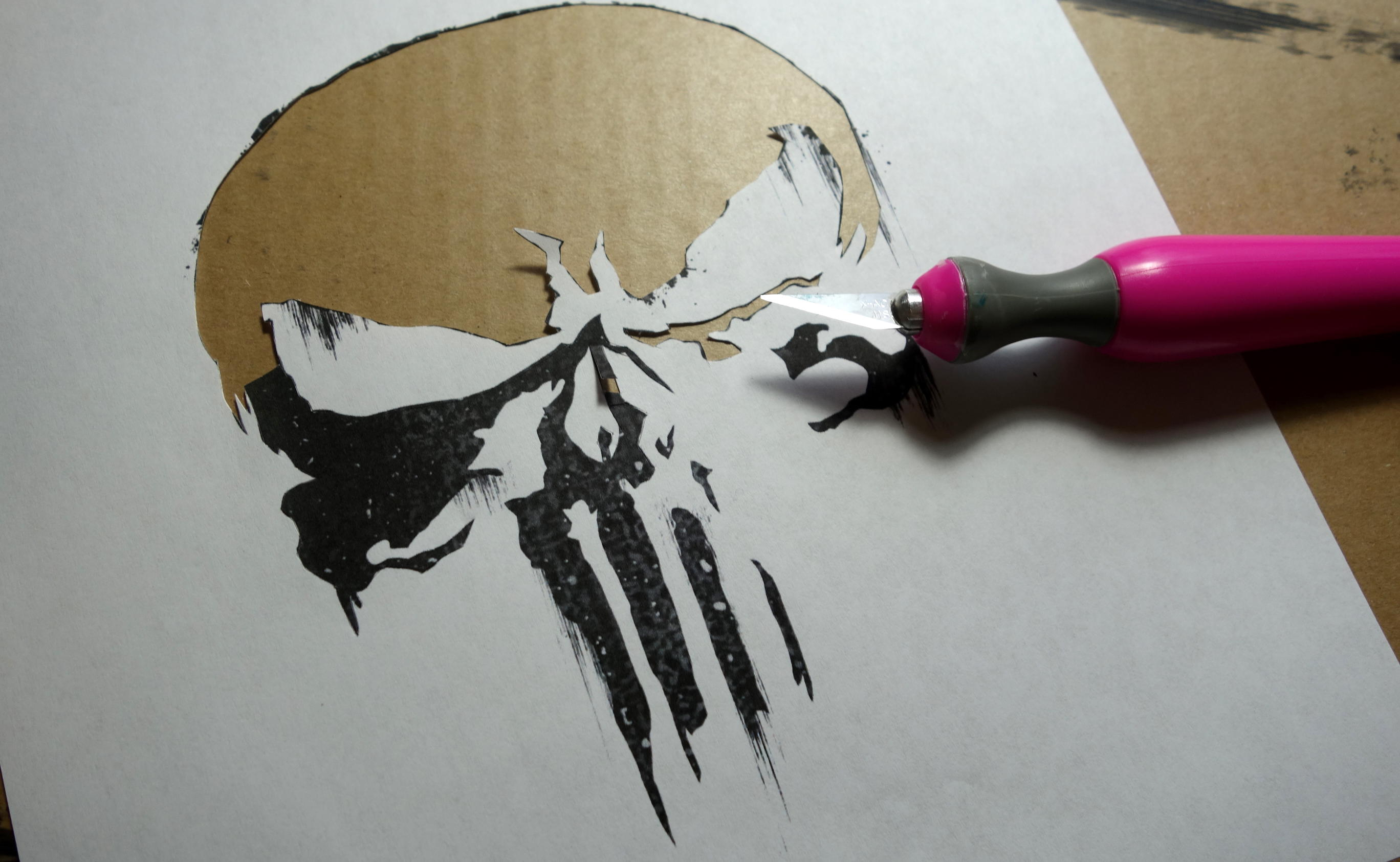 DIY Punisher Jigsaw Puzzle Craft - Cut Stencil