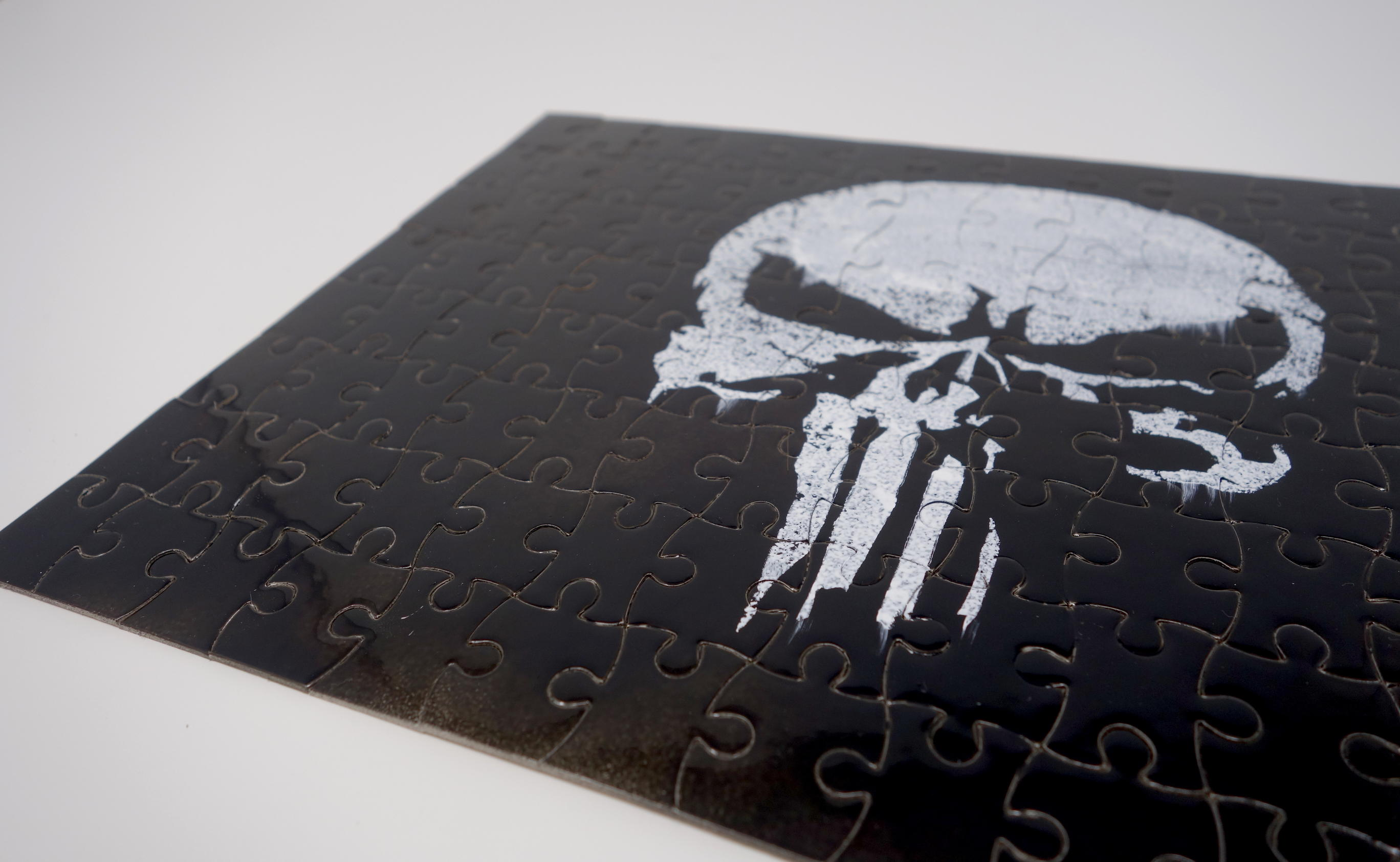 DIY Punisher Jigsaw Puzzle Craft - Paint Skull