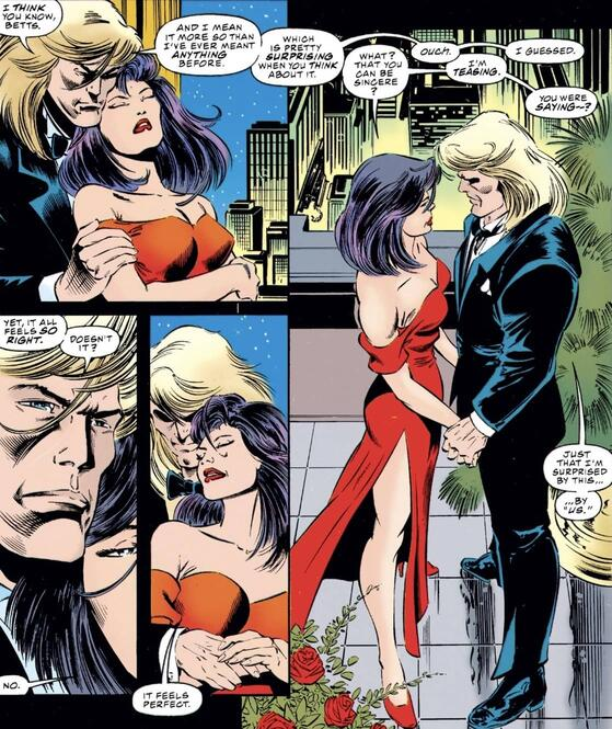Psylocke and Angel reflect on their romance in UNCANNY X-MEN (1963) #319.