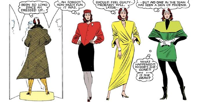 Rogue tries on multiple looks in UNCANNY X-MEN (1963) #210.