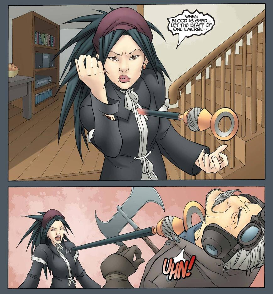 Nico wields her Staff of One in RUNAWAYS (2003) #5.