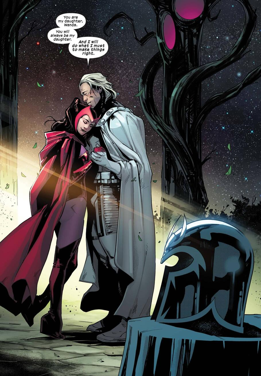 Scarlet Witch and Magneto embrace in S.W.O.R.D. #6.
