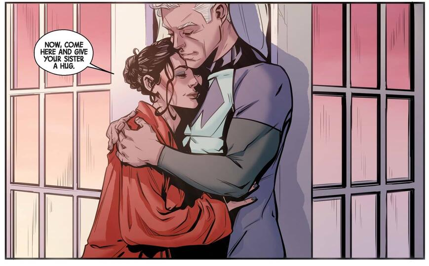 Wanda and Pietro embrace in SCARLET WITCH (2015) #9.
