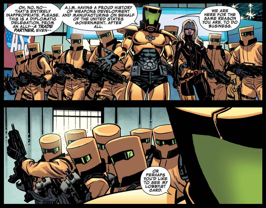 An assembly of A.I.M. agents in SECRET AVENGERS (2013) #3.