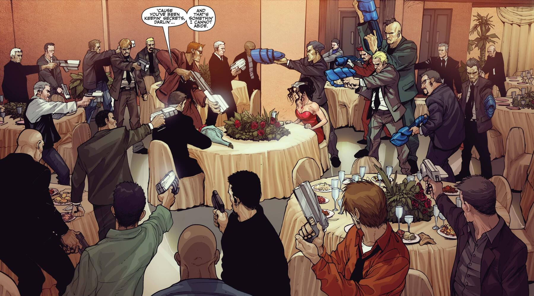 A questionable dinner date in SECRET WARRIORS (2009) #15.