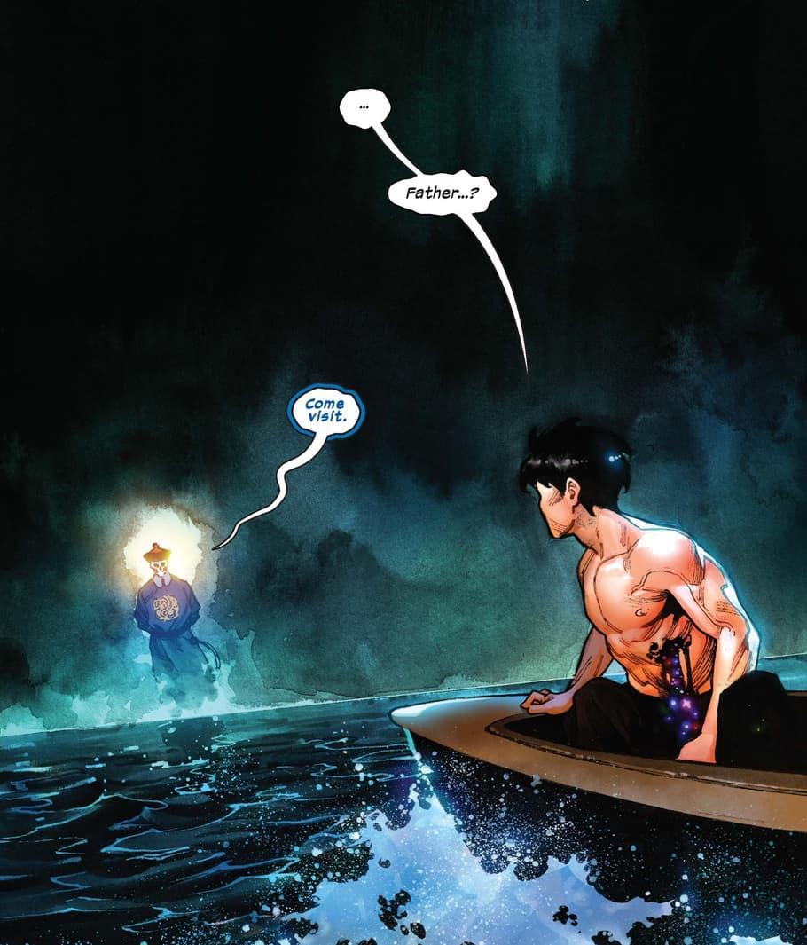 The spirit of Zheng Yi beckons Shang-Chi.