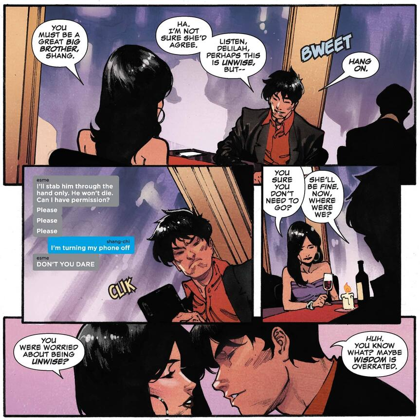 Shang-Chi on a dinner date with Delilah.