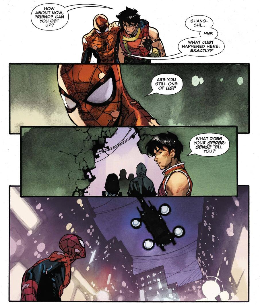 Spider-Man challenges Shang-Chi's heroics.