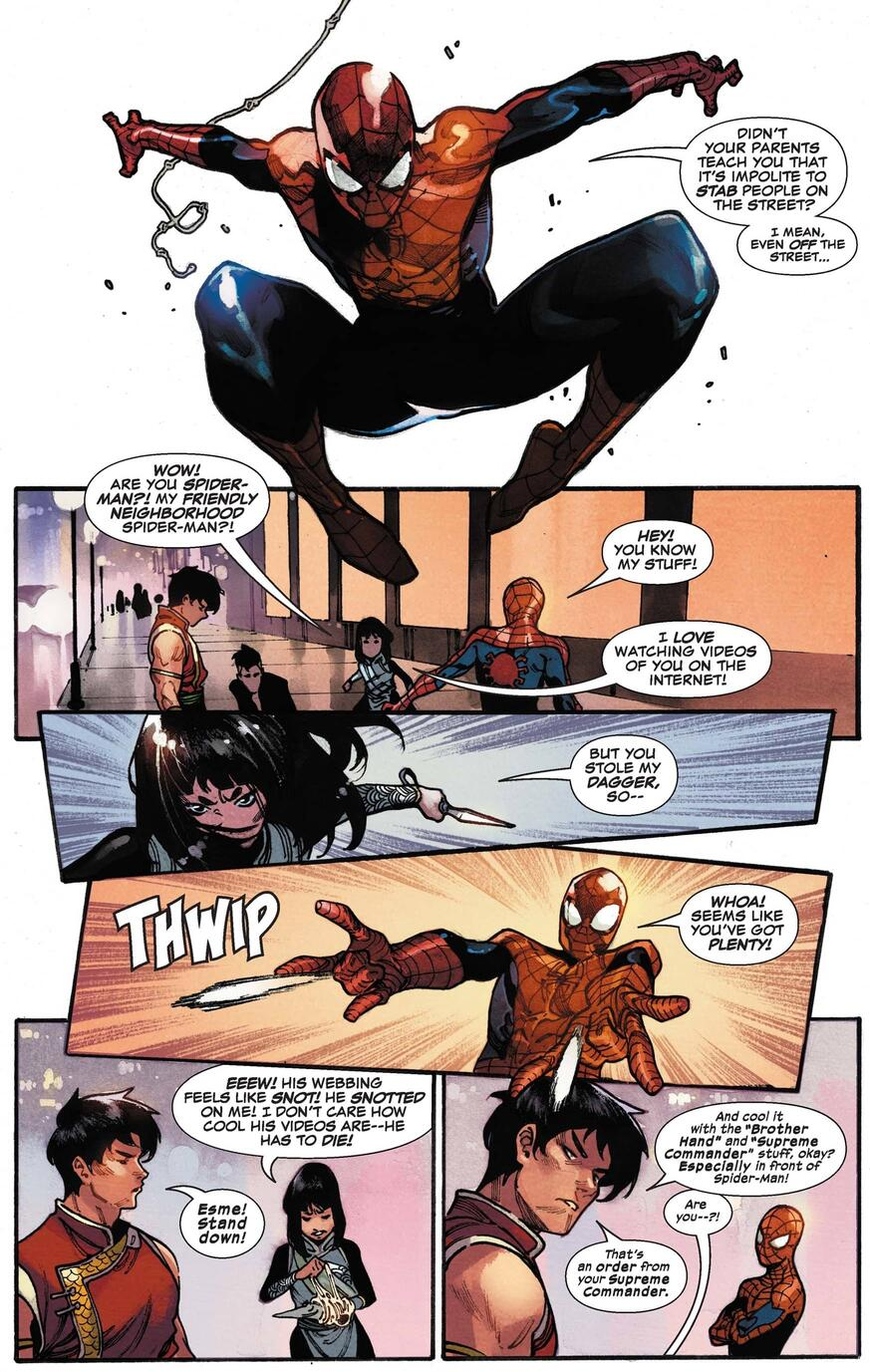 Spider-Man and Deadly Dagger confront each other.