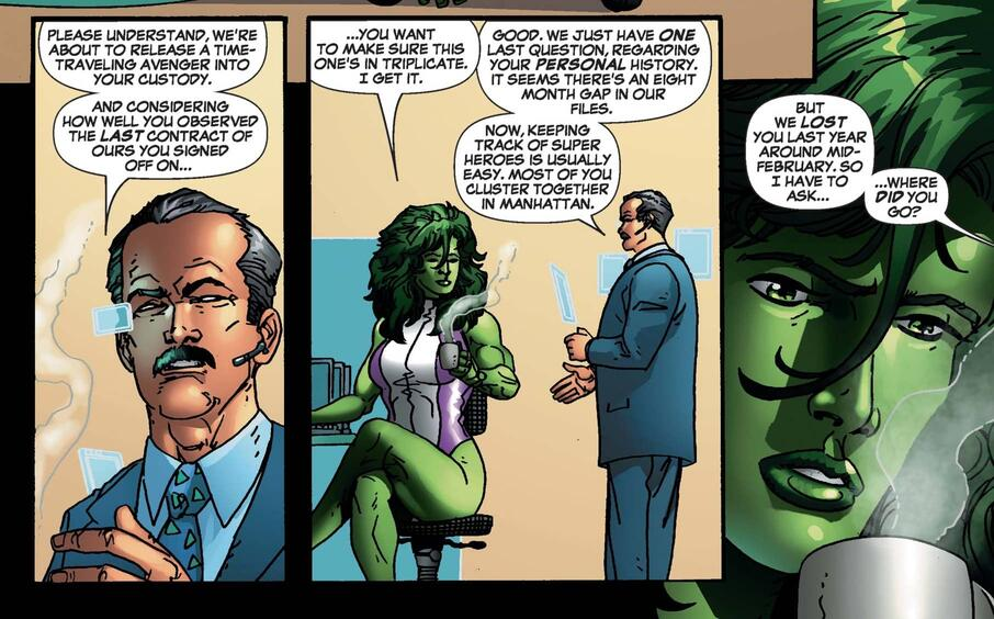 Mobius questions She-Hulk on a time lapse in SHE-HULK (2005) #4.