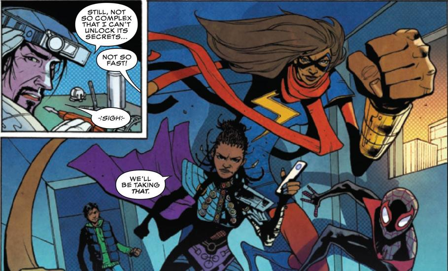 Shuri, Ms. Marvel, and Spider-Man
