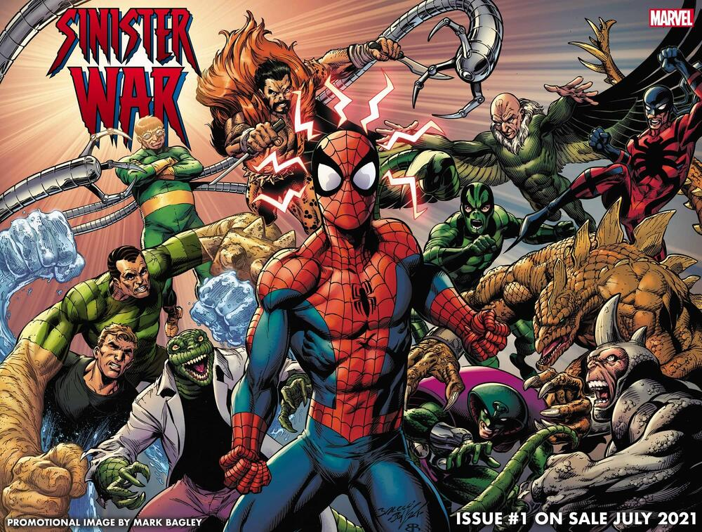 Spider-Man surrounded by his classic, sinister foes.