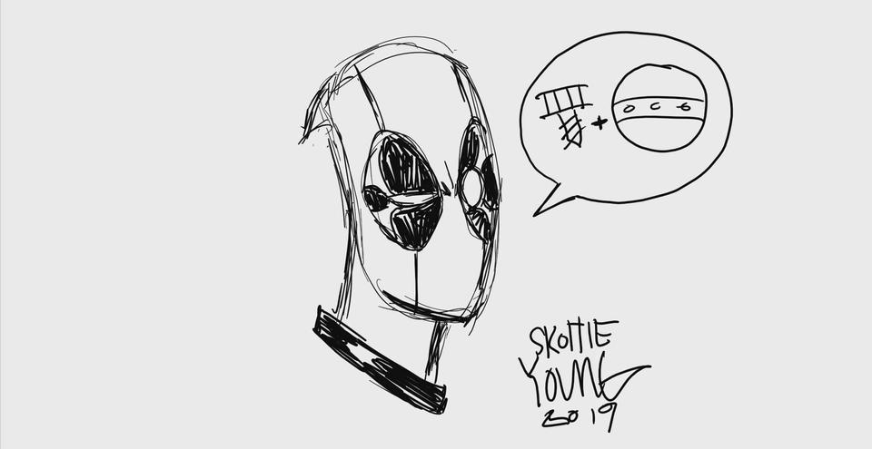 Deadpool drawing by Skottie Young