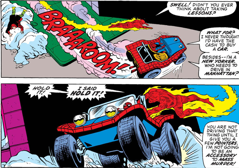 Human Torch teaches Spidey how to drive the Spider Mobile