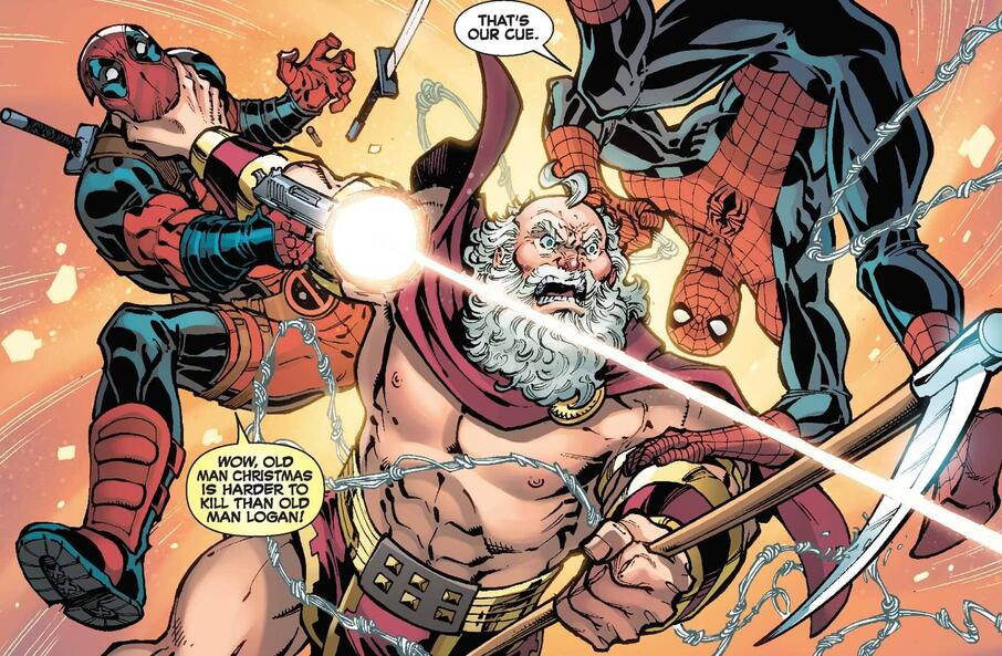 """Spider-Man and Deadpool take on Father """"Christmas."""""""