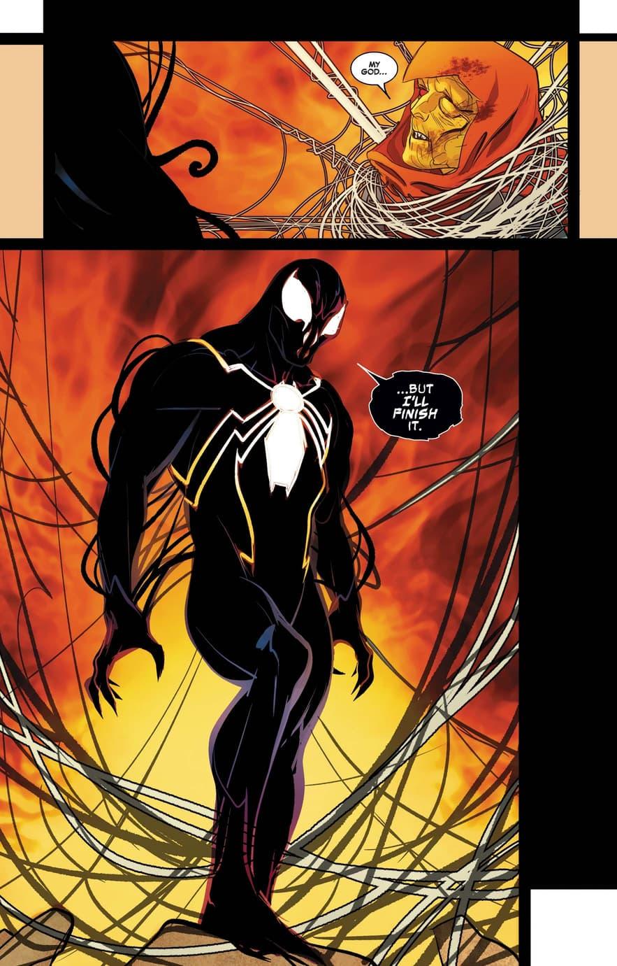A black suited Spider-Man menaces Hobgoblin.