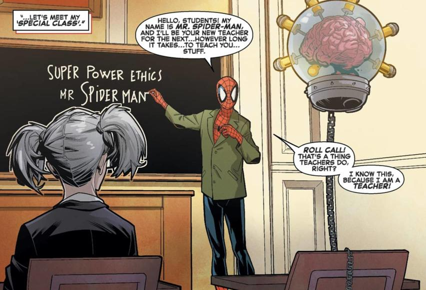 Spider-Man teaching mutants