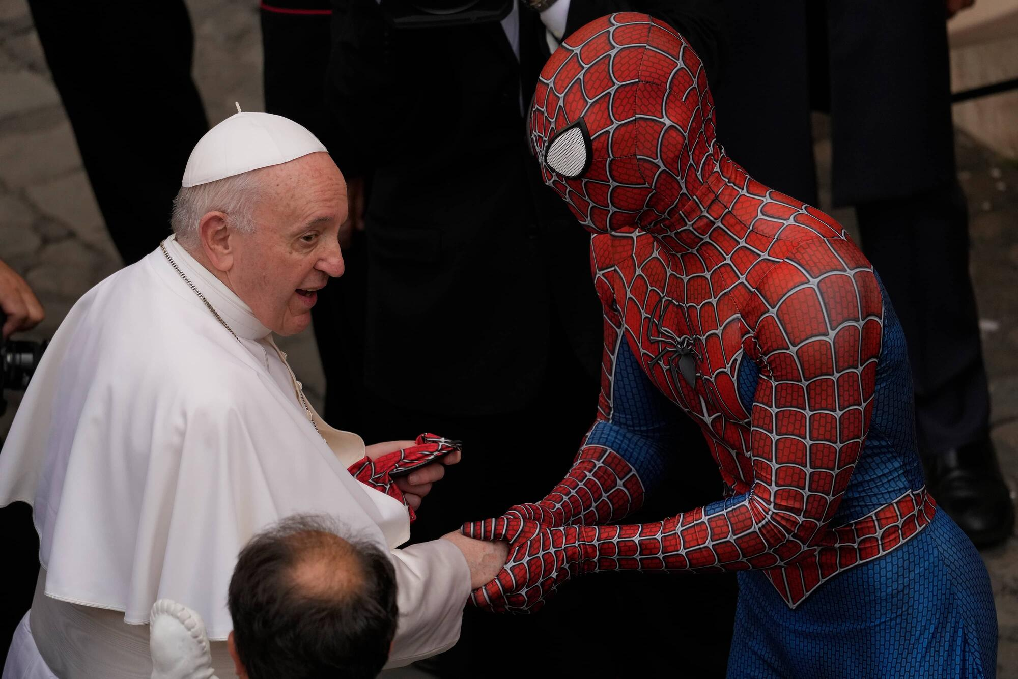 Spider-Man and the Pope ((AP Photo/Andrew Medichini)