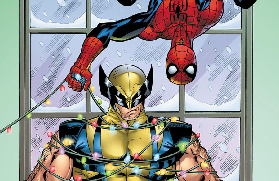 Spidey and Wolverine and Xmas Lights
