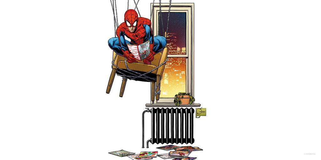 Spider-Man Hanging Out Reading Marvel Art by Joe Quesada
