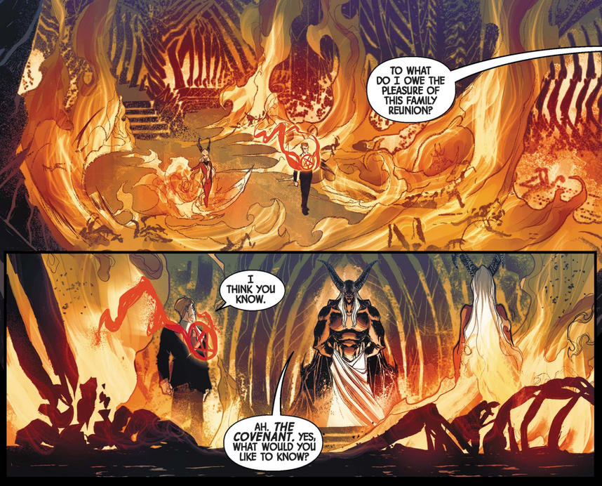 Daimon and Satana visit Satan in Hell