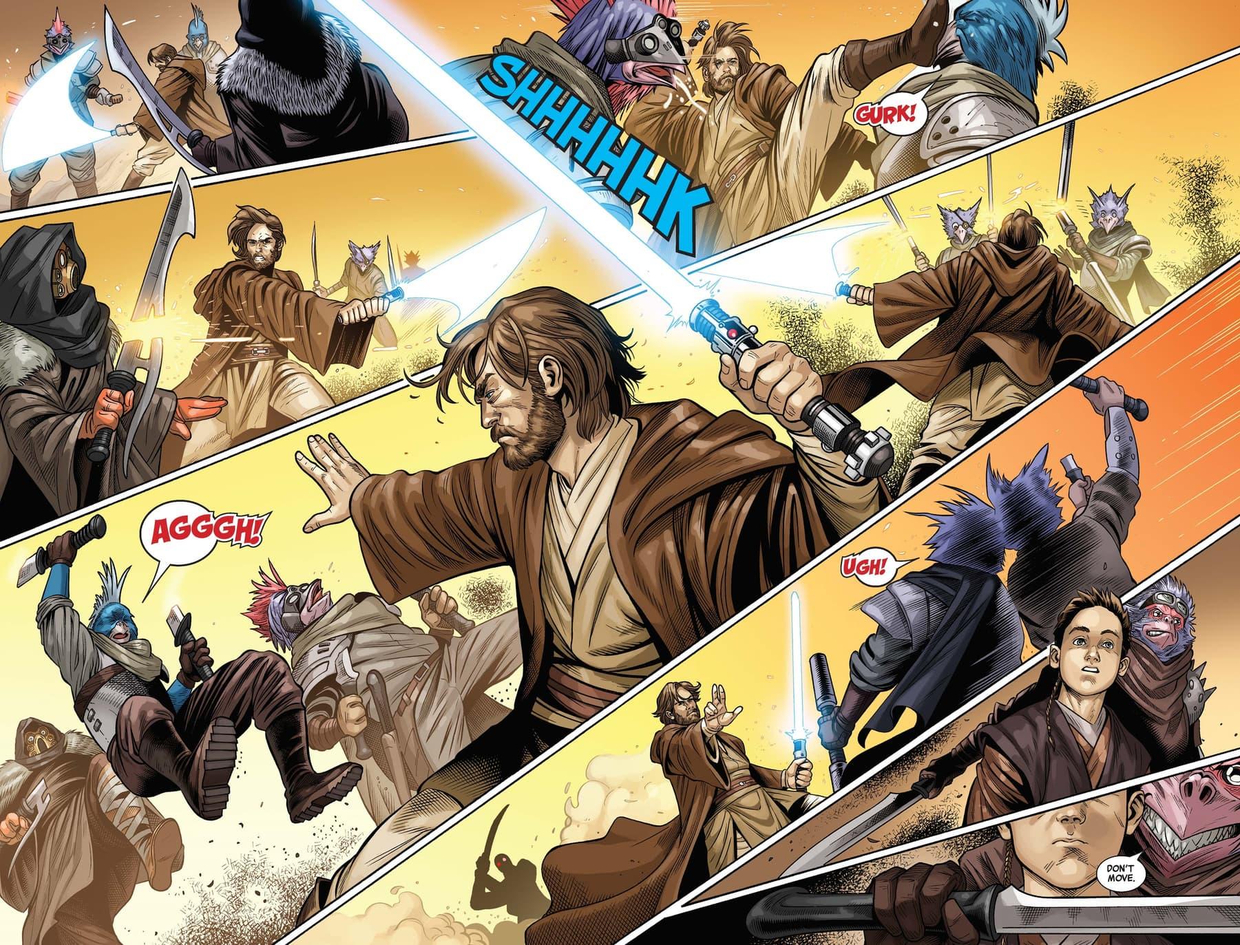 Anakin watches Obi-Wan wield the Force like a total pro.