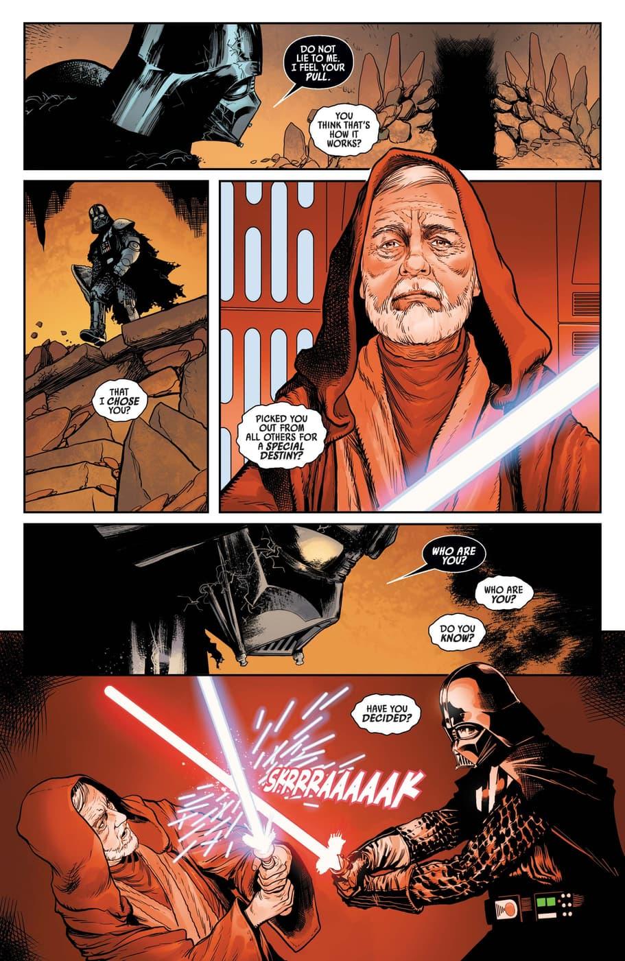 Darth Vader strikes down Obi-Wan Kenobi.