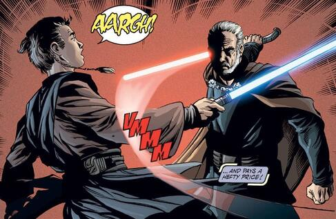 Anakin loses his hand to Count Dooku.