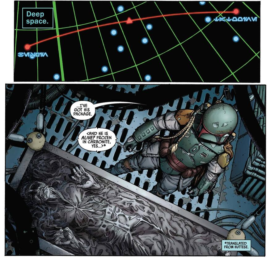 Boba Fett surveys his prize--Han Solo.