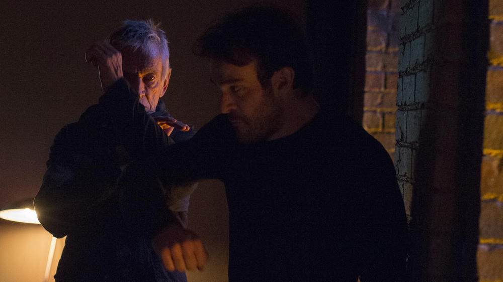 "Scott Glenn as Stick and Charlie Cox as Matt Murdock in ""Marvel's Daredevil"" Season 1"