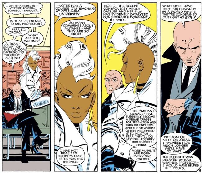 Professor Xavier and Storm wait on an airport bench in UNCANNY X-MEN (1963) #192.