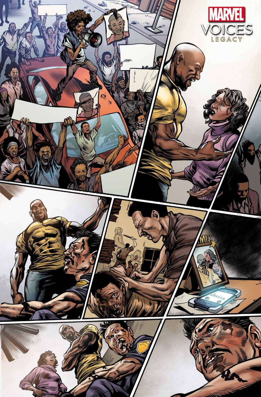 MARVEL'S VOICES: LEGACY #1 preview art by Sean Damien Hill, inks by Le Beau Underwood, colors by Rachelle Rosenberg